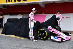 Esteban Ocon, Sahara Force India F1 and Sergio Perez, Sahara Force India unveil the new Sahara Force