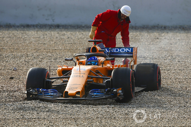 Fernando Alonso, McLaren MCL33 kecelakaan