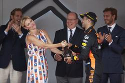 Princess Charlene and Prince Albert of Monaco with Race winner Daniel Ricciardo, Red Bull Racing,on the podium