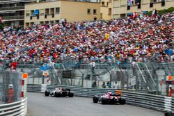 Charles Leclerc, Sauber C37, leads Sergio Perez, Force India VJM11