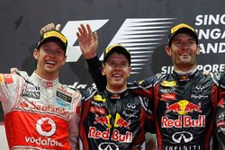 Podium: winner Sebastian Vettel, Red Bull Racing, second place Jenson Button, McLaren, third place M