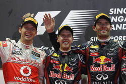 Podium: winner Sebastian Vettel, Red Bull Racing, second place Jenson Button, McLaren, third place Mark Webber, Red Bull Racing