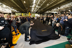 The Ginetta LMP1 car is unveiled, Lawrence Tomlinson pulls the covers back