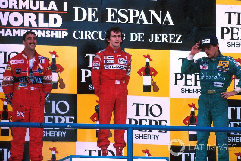 Podium: 1. Alain Prost, 2. Nigel Mansell, 3. Alessandro Nannini