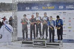 Podium: winners Sébastien Ogier, Julien Ingrassia, Volkswagen Motorsport, second place Hayden Paddon, John Kennard, Hyundai Motorsport, third place Mads Ostberg, Ola Floene, M-Sport Ford