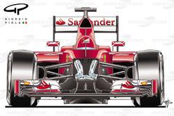 Suspensión delantera de Ferrari SF15: carrocería abierta