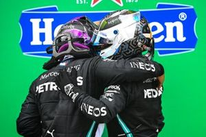 Valtteri Bottas, Mercedes-AMG F1, 2nd position, congratulates Lewis Hamilton, Mercedes-AMG F1, 1st position, on his 92nd victory in Parc Ferme