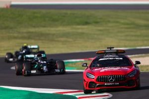 The Safety Car Lewis Hamilton, Mercedes F1 W11, and Valtteri Bottas, Mercedes F1 W11
