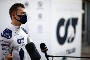 Daniil Kvyat, AlphaTauri, is interviewed after practice