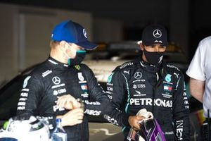Front row starters Valtteri Bottas, Mercedes-AMG F1, and pole man Lewis Hamilton, Mercedes-AMG F1, in Parc Ferme after Qualifying