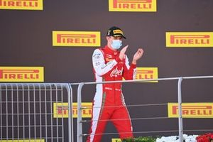 Frederik Vesti, Prema Racing, celebrates on the podium