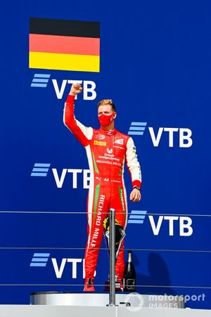 Race Winner Mick Schumacher, Prema Racing celebrates on the podium