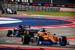 Daniel Ricciardo, McLaren MCL35M, Yuki Tsunoda, AlphaTauri AT02, et Nikita Mazepin, Haas VF-21