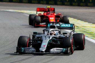 Lewis Hamilton, Mercedes AMG F1 W10 and Charles Leclerc, Ferrari SF90