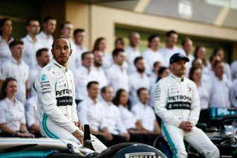 Lewis Hamilton, Mercedes AMG F1, and Valtteri Bottas, Mercedes AMG F1, pose for a group photo