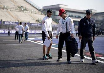 Mario Dominguez walks the track