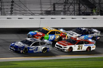 Kevin Harvick, Stewart-Haas Racing, Ford Mustang Busch Light #PIT4BUSCH, Matt DiBenedetto, Wood Brothers Racing, Ford Mustang Motorcraft/Quick Lane, Kyle Busch, Joe Gibbs Racing, Toyota Camry M&M's, and \c36