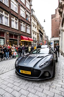 Een speciale Aston Martin DBS Superleggera bij de presentatie van de TAG Heuer Max Verstappen Special Edition 2019 in Amsterdam