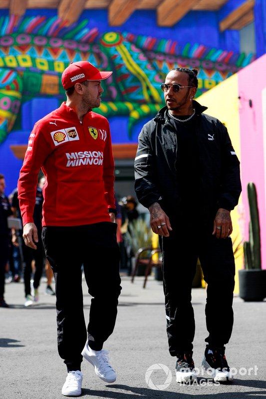 Sebastian Vettel, Ferrari e Lewis Hamilton, Mercedes AMG F1