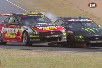 Screenshot of Chaz Mostert, Tickford Ford and Cameron Waters, Ford making contact