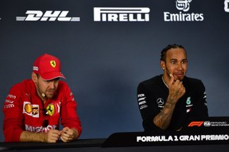 Sebastian Vettel, Ferrari, 2nd position, and Lewis Hamilton, Mercedes AMG F1, 1st position, in the Press Conference