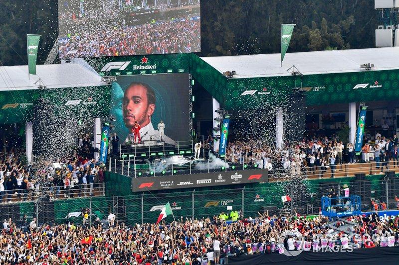 Mexique - Podium : Lewis Hamilton, Sebastian Vettel, Valtteri Bottas
