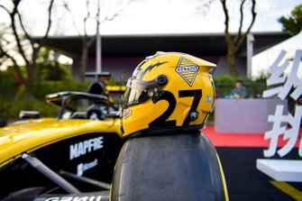 The helmet of Nico Hulkenberg, Renault F1 Team, poses on a car