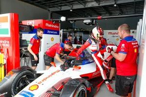 Pascal Wehrlein hops out of his Mahindra Racing M5 Electro