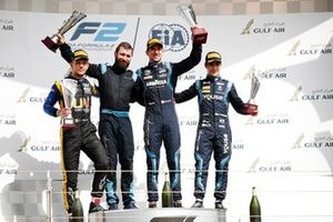 Luca Ghiotto, UNI VIRTUOSI, Nicholas Latifi, DAMS, and Sergio Sette Camara, DAMS, celebrate on the podium