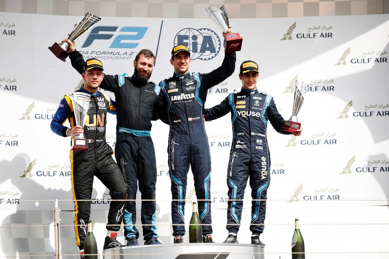 Luca Ghiotto, UNI VIRTUOSI, Nicholas Latifi, DAMS, and Sergio Sette Camara, DAMS, celebrate on the podium