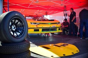 Crew work on the #55 TA2 Chevrolet Camaro driven by Michael Mihld