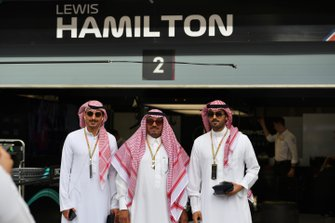 Members of the Bahrain royal family outside the garage of Lewis Hamilton, Mercedes AMG F1