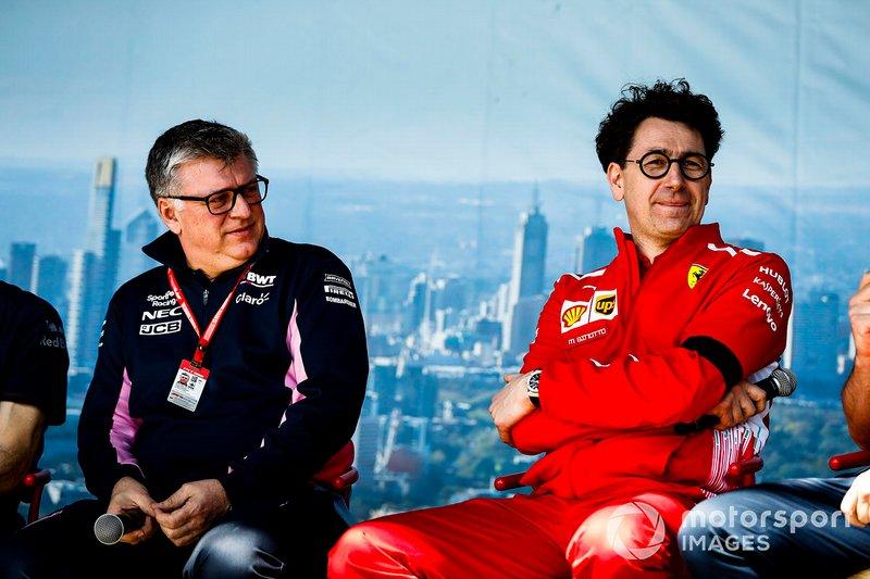 Otmar Szafnauer, Team Principal Racing Point, and Mattia Binotto, Team Principal Ferrari, on stage