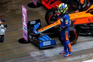 Pole man Lando Norris, McLaren, celebrates in Parc Ferme