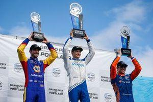 Alex Palou, Chip Ganassi Racing Honda celebrates winning the Grand Prix of Portland, Scott Dixon, Chip Ganassi Racing Honda, Alexander Rossi, Andretti Autosport Honda