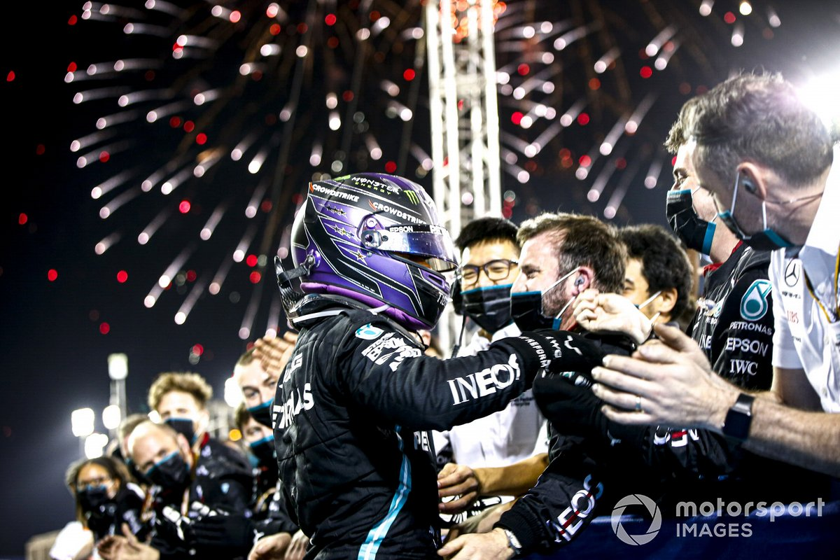 Lewis Hamilton, Mercedes, 1st position, celebrates with his team in Parc Ferme