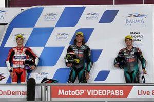 Top 3 de calificación: Darryn Binder, Petronas Sprinta Racing, Izan Guevara, Aspar Team Moto3, John Mcphee, Petronas Sprinta Racing parc ferme