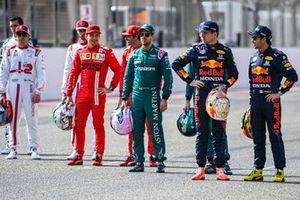 Kimi Raikkonen, Alfa Romeo, Charles Leclerc, Ferrari, Sebastian Vettel, Aston Martin, Max Verstappen, Red Bull Racing, and Sergio Perez, Red Bull Racing
