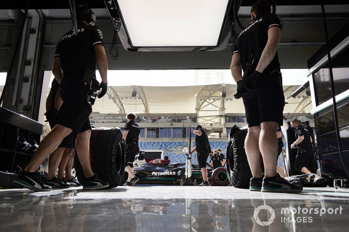Lewis Hamilton, Mercedes W12, in pit lane
