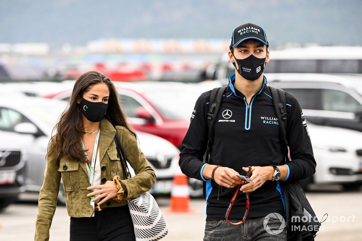 George Russell, Williams Racing con su novia Carmen Montero Mundt