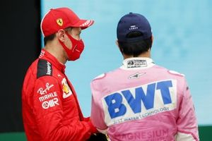 Sebastian Vettel, Ferrari, 3rd position, and Sergio Perez, Racing Point, 2nd position,