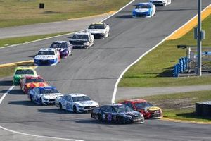 Kevin Harvick, Stewart-Haas Racing, Ford Mustang Mobil 1, Martin Truex Jr., Joe Gibbs Racing, Toyota Camry Bass Pro Shops, Cole Custer, Stewart-Haas Racing, Ford Mustang Dixie Vodka, and Chris Buescher, Roush Fenway Racing, Ford Mustang