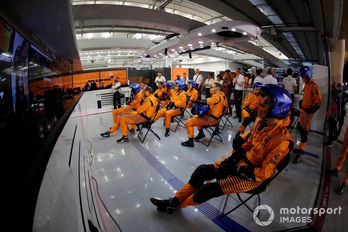 The McLaren pit crew in the garage