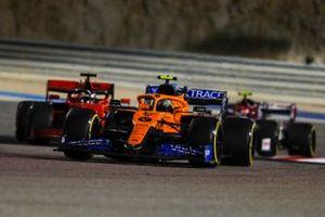Lando Norris, McLaren MCL35, Sebastian Vettel, Ferrari SF1000, and Antonio Giovinazzi, Alfa Romeo Racing C39
