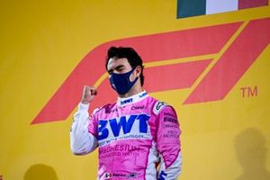 Sergio Perez, Racing Point, 1st position, celebrates on the podium