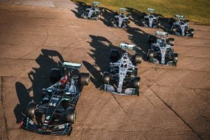 Mercedes F1 cars line-up