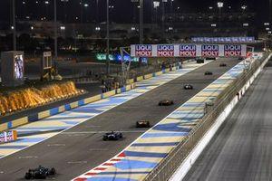 Lando Norris, McLaren MCL35M, Daniel Ricciardo, McLaren MCL35M, Fernando Alonso, Alpine A521, and Lance Stroll, Aston Martin AMR21