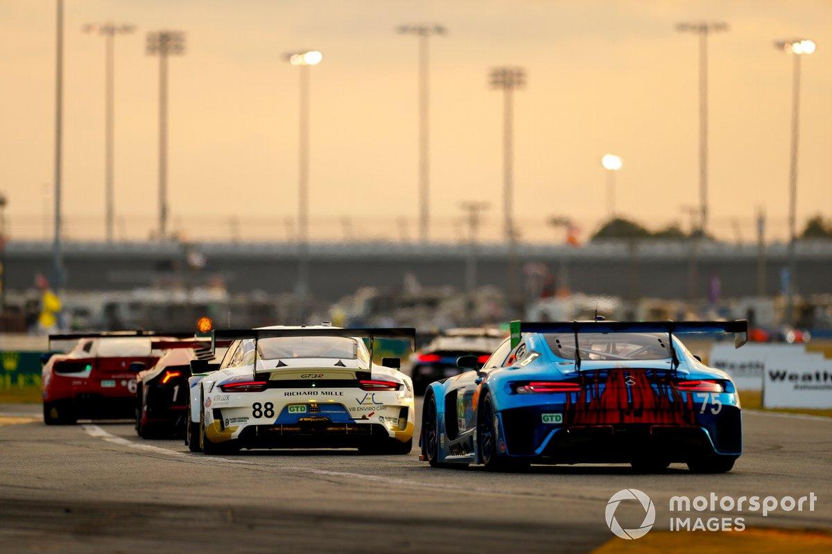 #88 Team Hardpoint EBM Porsche 911 GT3R, GTD: Earl Bamber, Rob Ferriol, Katherine Legge, Christina Nielsen, #75: Sun Energy 1 Mercedes-AMG GT3, GTD: Kenny Habul, Mikael Grenier, Raffaele Marciello, Luca Stolz