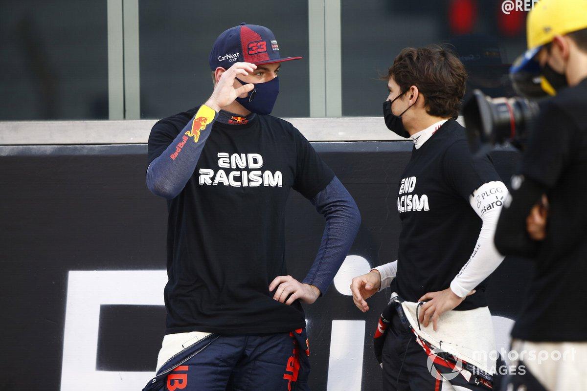 Max Verstappen, Red Bull Racing, Pietro Fittipaldi, Haas F1, en apoyo al movimiento de fin al racismo