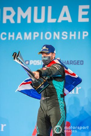 Sam Bird, Panasonic Jaguar Racing, 1st position, on the podium with his trophy